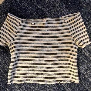 Striped Smocked Off the Shoulder Crop Top
